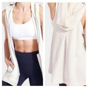 Athleta Blissful Vest Hooded Cream Size Large NWT